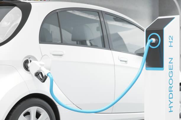 carburante a idrogeno che riempie l'auto bianca sulla stazione di rifornimento per un trasporto ecologico - pila a idrogeno foto e immagini stock