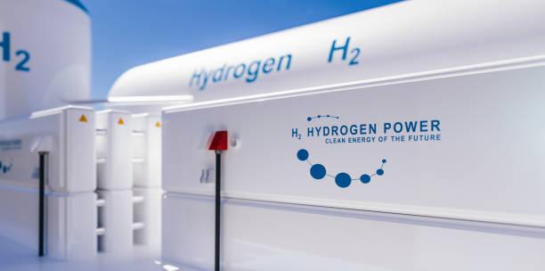 Hydrogen h2 renewable energy production stock photo