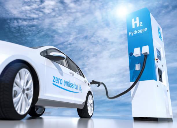 logo a idrogeno sul distributore di carburante delle stazioni di servizio. h2 motore a combustione per il trasporto ecologico senza emissioni - idrogeno foto e immagini stock