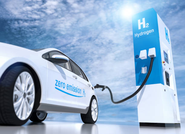 hydrogen logo on gas stations fuel dispenser. h2 combustion engine for emission free ecofriendly transport stock photo