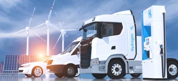logo a idrogeno sul distributore di carburante delle stazioni di servizio. h2 combustione camion, motore automobilistico per il trasporto ecologico senza emissioni - idrogeno foto e immagini stock