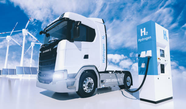 hydrogen logo on gas stations fuel dispenser. h2 combustion Truck engine for emission free ecofriendly transport stock photo
