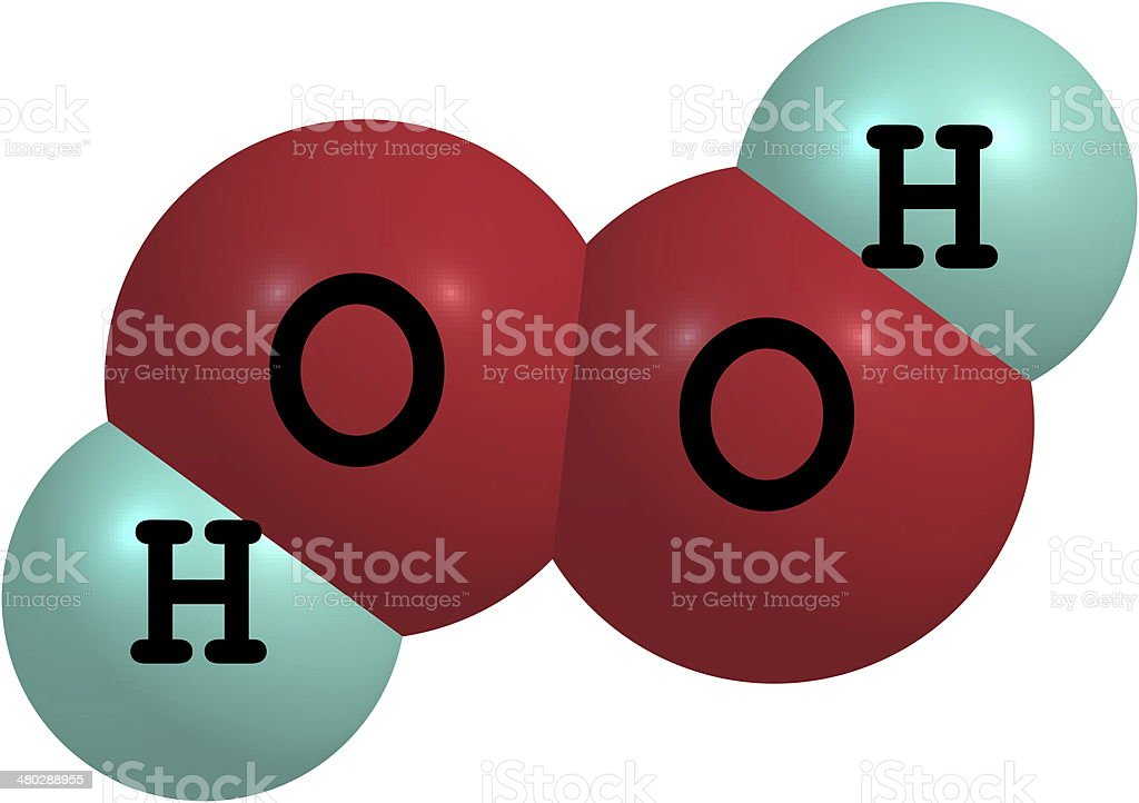 Hydrogen peroxide (H2O2) molecular structure isolated on white stock photo
