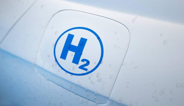 hydrogen powered car close up - pila a idrogeno foto e immagini stock