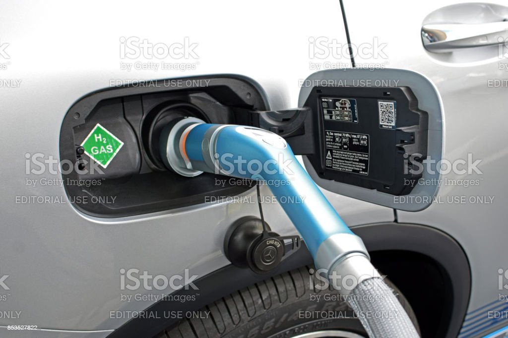 Hydrogen refueling on the hydrogen filling station on the motor show stock photo