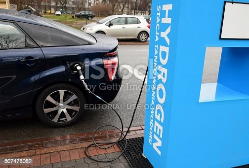 Warsaw, Poland - November, 21th, 2015 - Refueling the hydrogen to the car on the hydrogen filling station. The European Union is planned expansion the hydrogen stations in future. The hydrogen replaces gasoline as fuel in future.