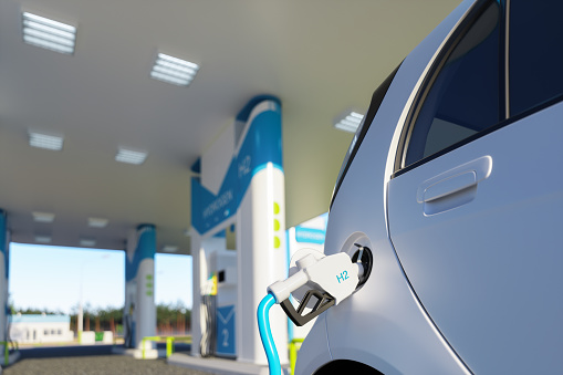 Hydrogen Refueling The Car On The Filling Station For Eco Friendly Transport.