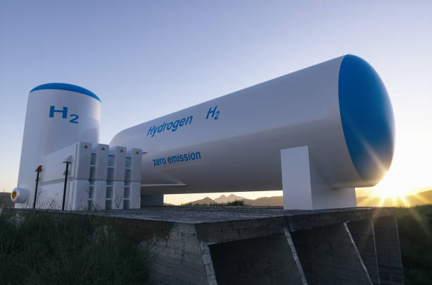 Hydrogen renewable energy production - hydrogen gas for clean electricity solar and windturbine facility. stock photo