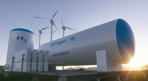hydrogen renewable energy production - hydrogen gas for clean electricity solar and windturbine facility. - idrogeno foto e immagini stock