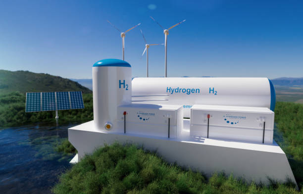 Hydrogen renewable energy production - hydrogen gas for clean electricity solar and windturbine facility stock photo