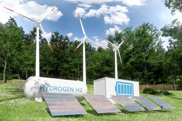 hydrogen storage compartment, wind turbines and solar panels in the forest - pila a idrogeno foto e immagini stock