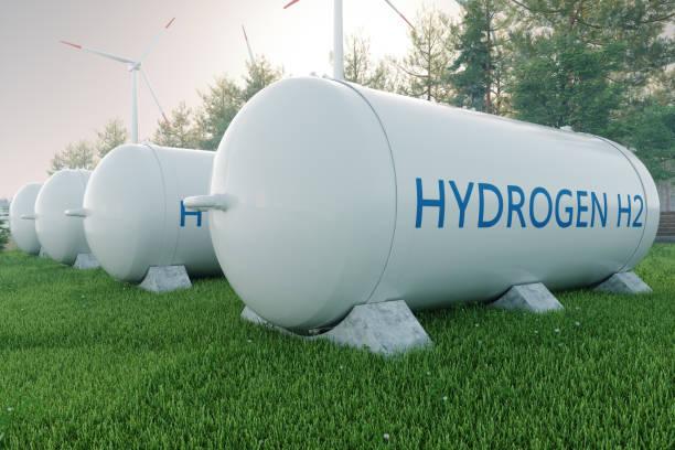 hydrogen storage in renewable energy - idrogeno foto e immagini stock