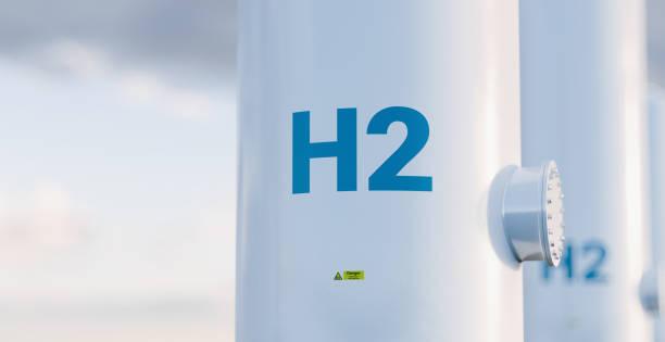 Wasserstoff-Speichertank-Konzept in schönem Morgenlicht. 3D-Rendering. – Foto