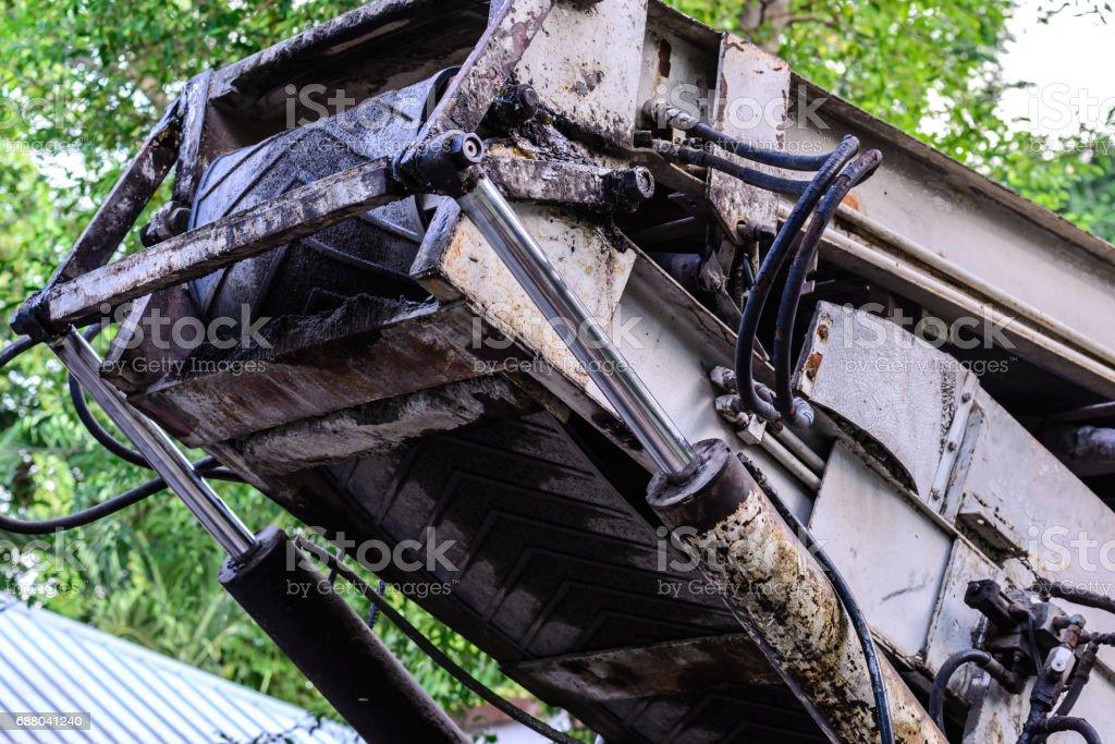 Hydrolic system of crane. stock photo