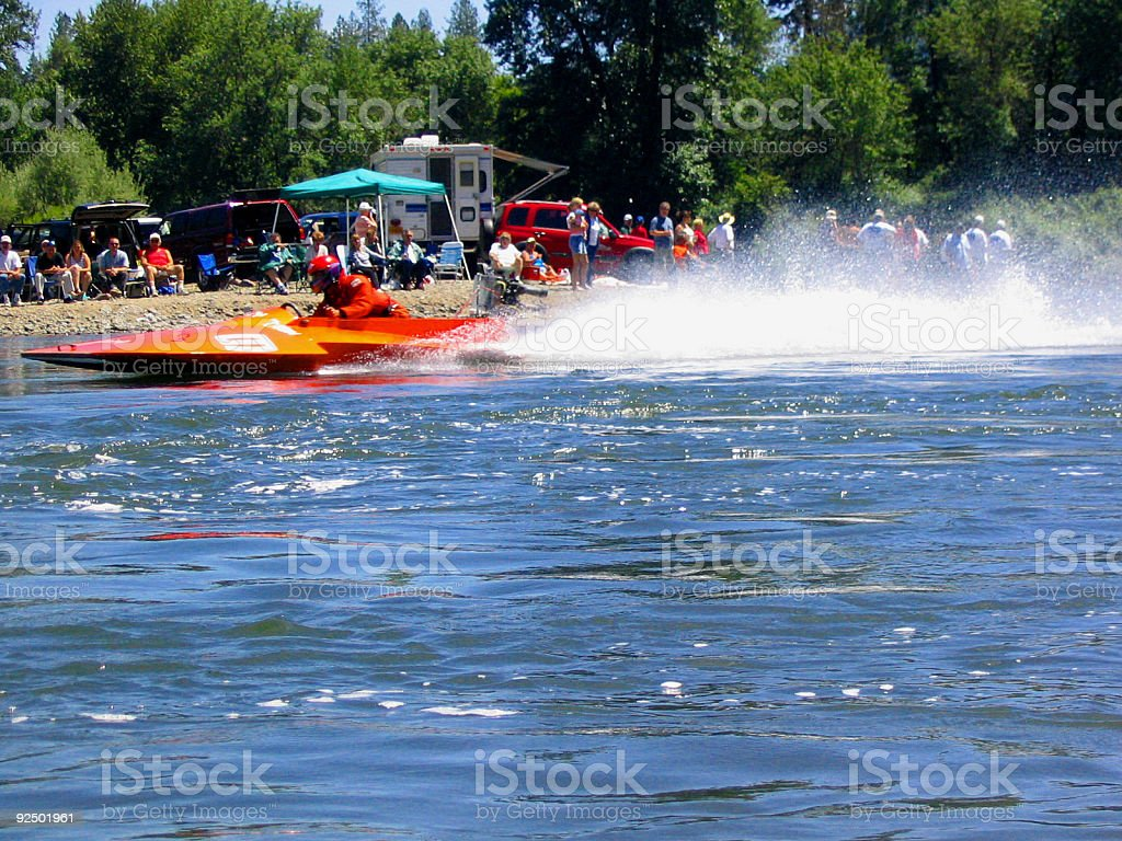 hydroplane boat on river royalty-free stock photo