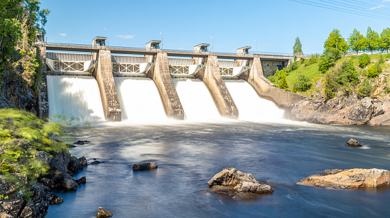 Kerr Dam on the Flathead River near Polson, MT. Old hydroelectric dam built in the 1930's.