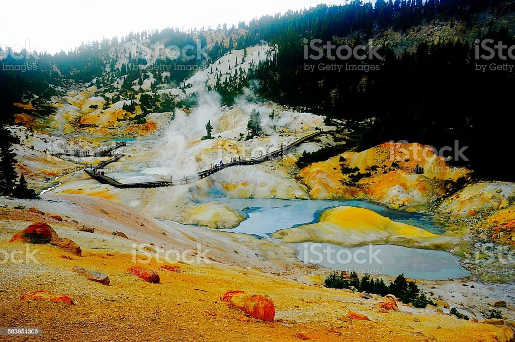Hydrothermal area in Lassen Volcanic National Park, California stock photo
