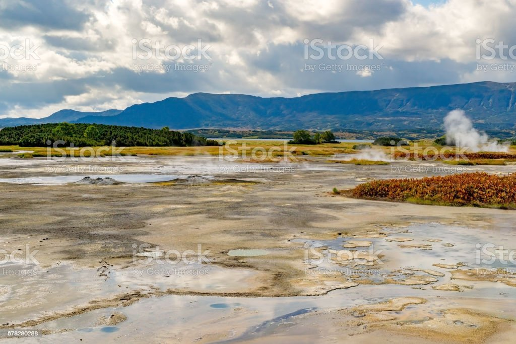 Hydrothermal field in the Uzon caldera stock photo