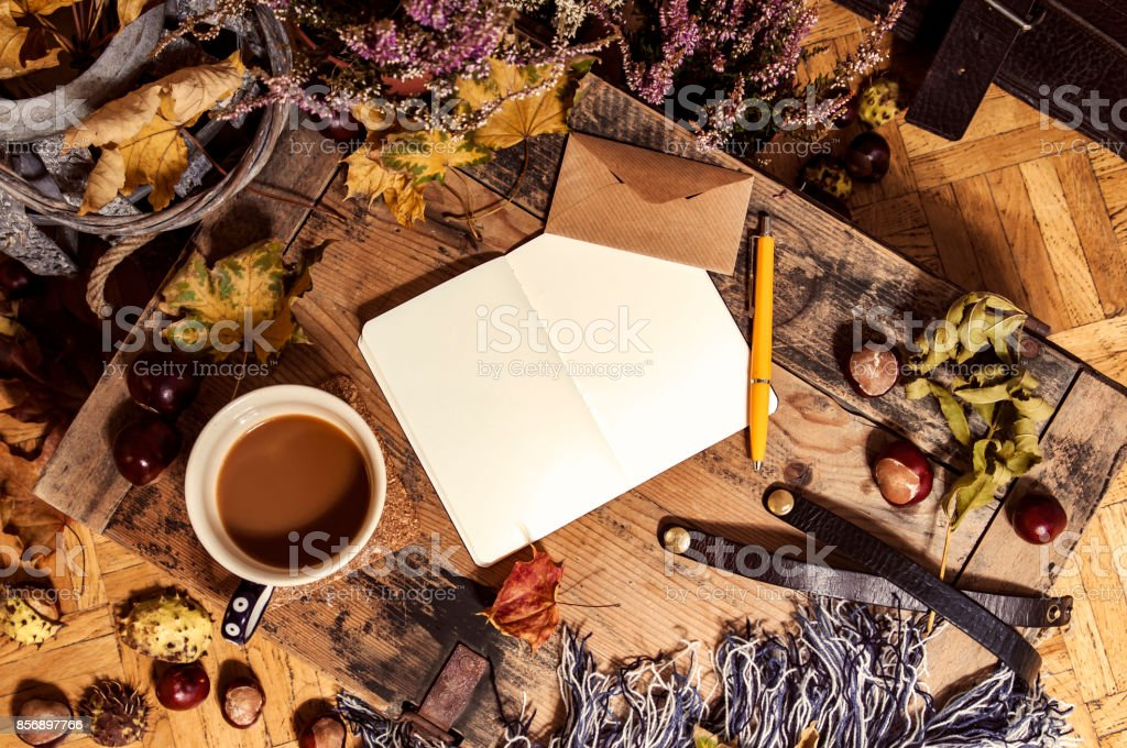 Hygge lifestyle at home in autumn stock photo
