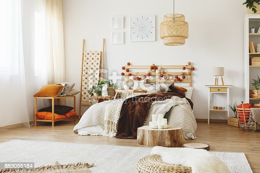 hygge style bedroom interior stock photo more pictures of apartment istock. Black Bedroom Furniture Sets. Home Design Ideas