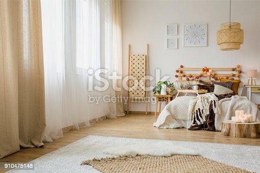 istock Hygge style bedroom interior 910475148