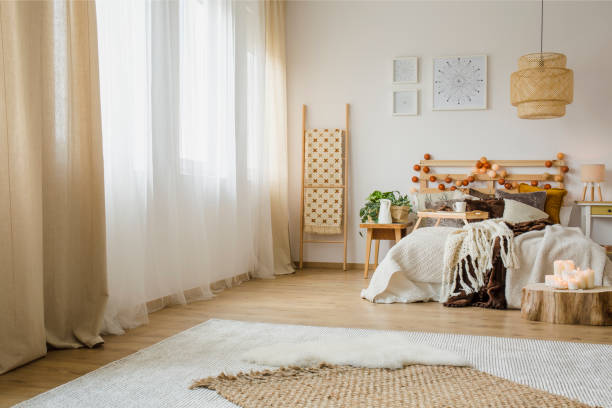 hygge style bedroom interior - home decor boho imagens e fotografias de stock