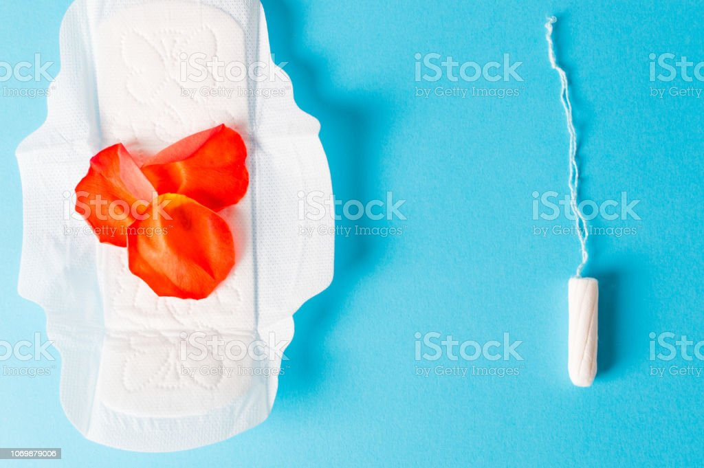 Hygiene and protection in menstruation period. tampons and pad