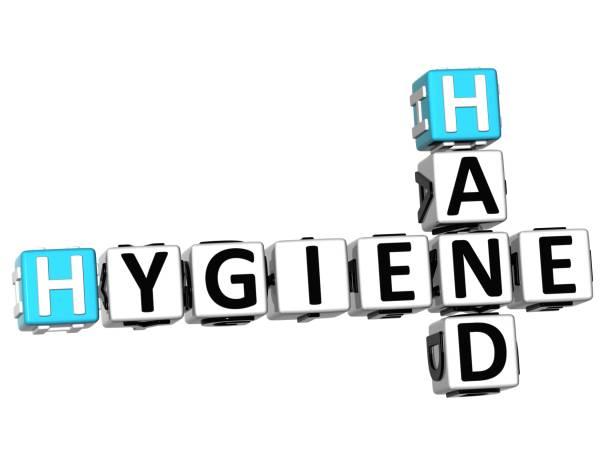 3d hygiene hand kreuzworträtsel - bindewörter stock-fotos und bilder