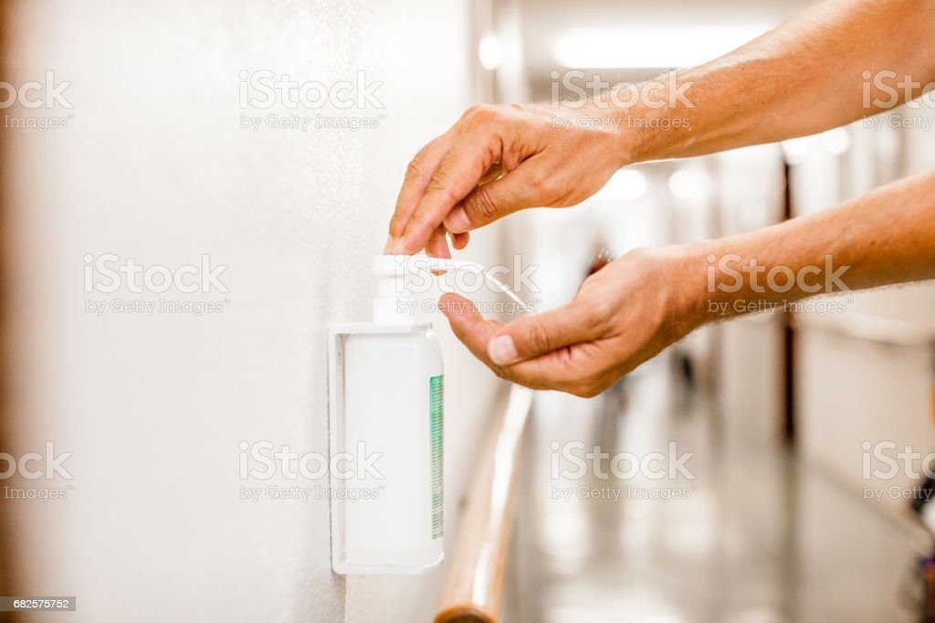 Hygiene Hand Disinfection stock photo