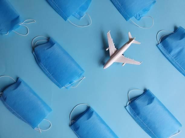 hygiene material for disease prevention - covid flight imagens e fotografias de stock