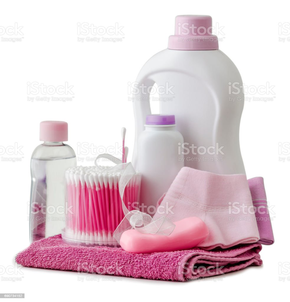 hygiene products and bathroom accessories stock photo