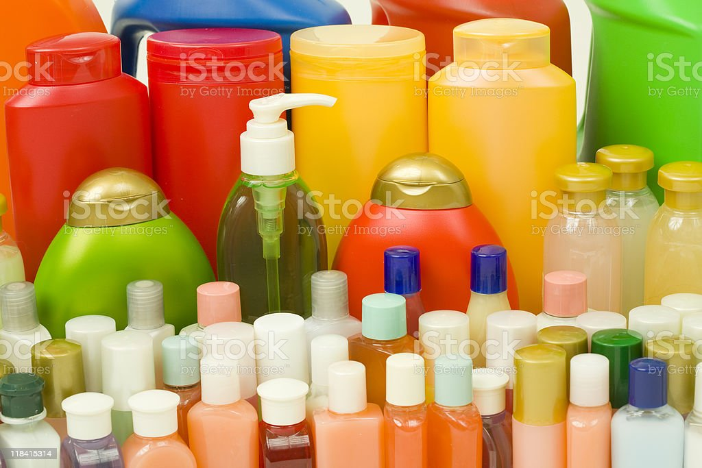 Hygiene Products in Colorful Bottles royalty-free stock photo