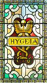 Hygeia (Hygiene in latin) in a stained glass window at the Victoria Legislative Building in Victoria, British Columbia, Canada.(Public building)