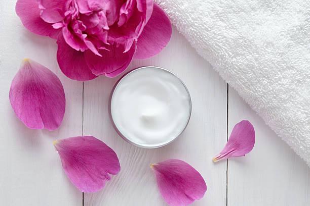 Hygienic herbal cosmetic cream vitamin spa lotion natural organic moisturizer stock photo