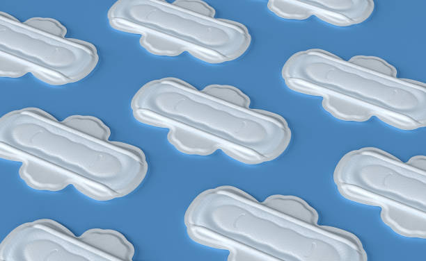 hygienic sanitary napkin, menstruation days, on a white background.3d rendering - sanitary pad stock photos and pictures