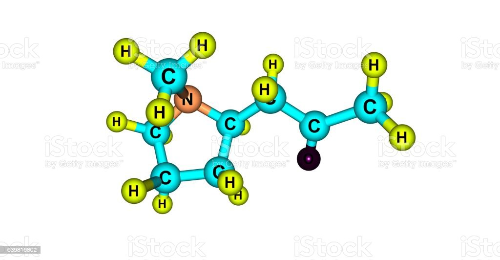 Hygrine molecular structure isolated on white stock photo