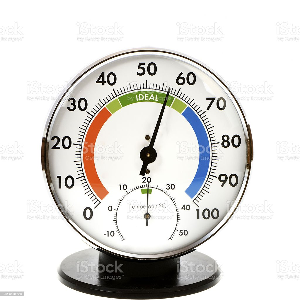 Hygrometer and Thermometer Analog hygrometer and thermometer - everything is in the green Climate Stock Photo