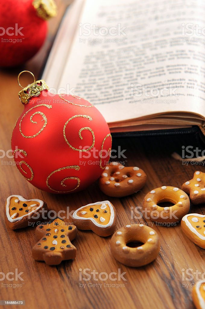 hymnal book with christmas balls Xmas pastry crust royalty-free stock photo
