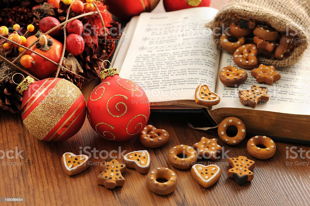 hymnal book with christmas wreath balls Xmas pastry crust stock photo