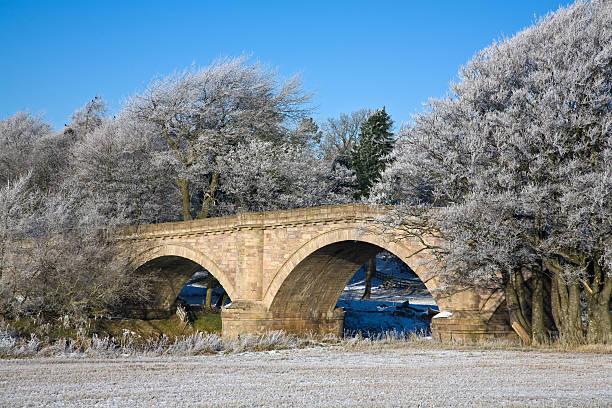 Hyndford Bridge in Winter stock photo