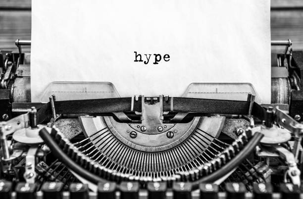 hype printed on a vintage typewriter. stock photo
