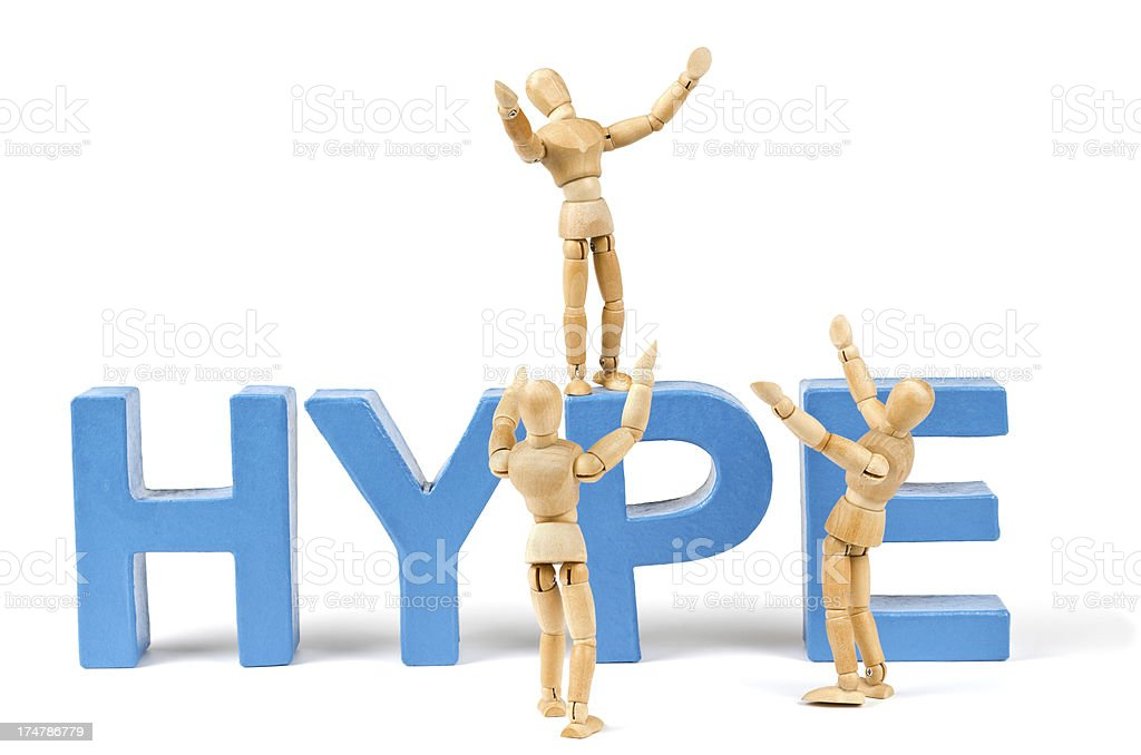 Hype - Wooden Mannequin demonstrating this word stock photo