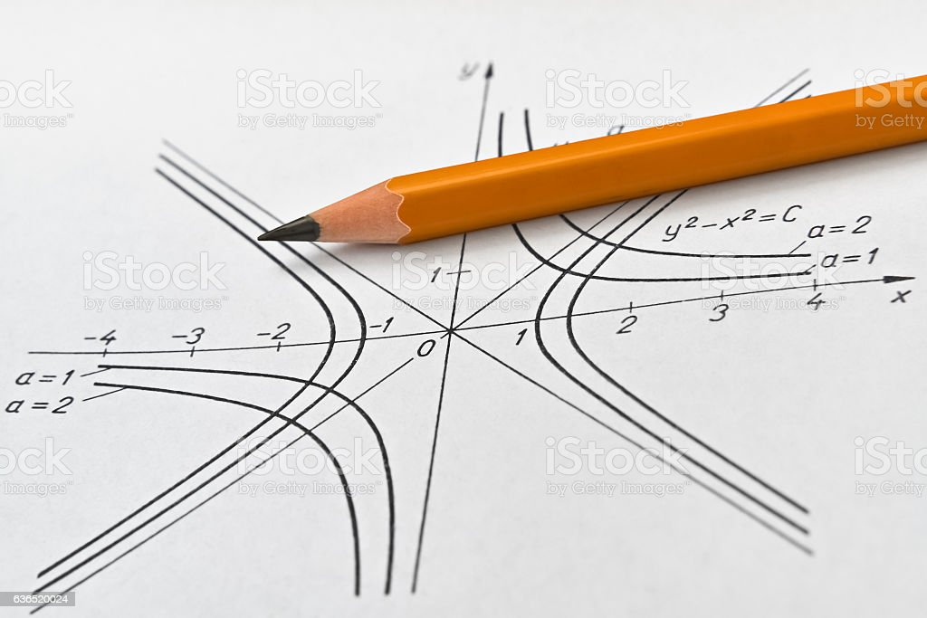 Hyperbola and pencil stock photo
