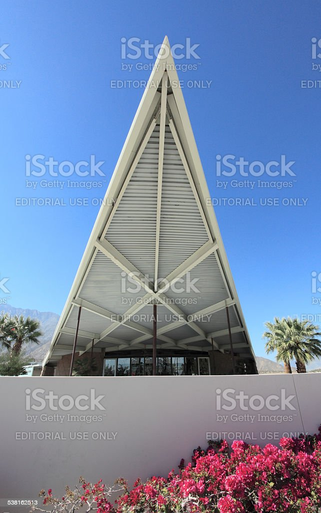 Hyperbolic Roof Of Palm Springs Mid Century Visitor's Centre. stock photo