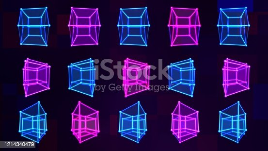 istock 4D Hypercube Tesseract Array Matrix with Trippy Visual Neon Colors - Abstract Background Texture 1214340479
