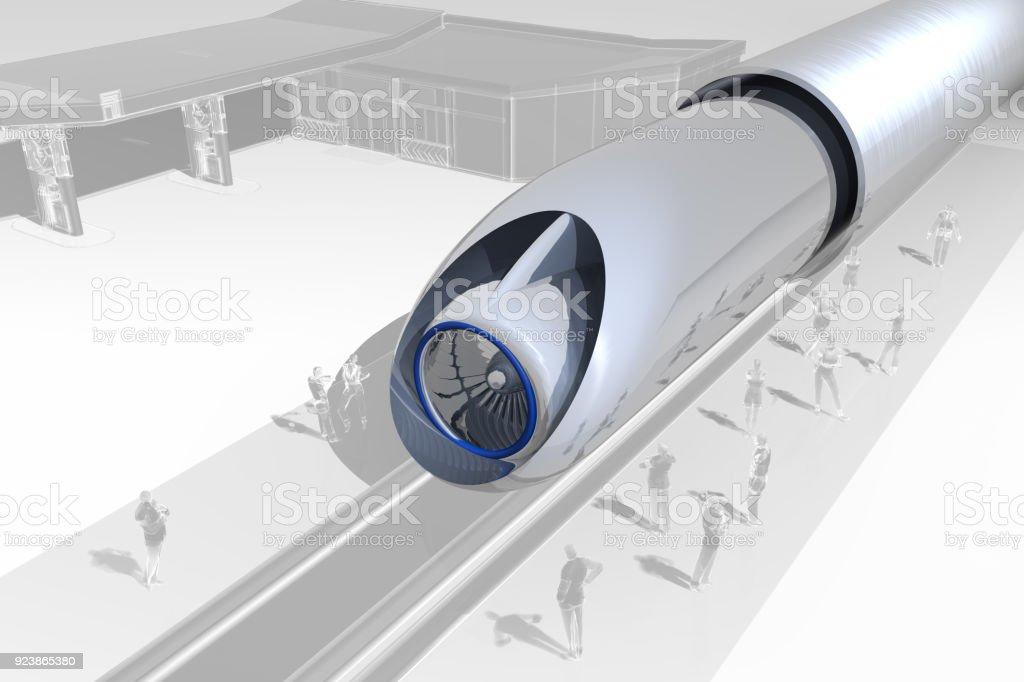 Hyperloop Bahnhof und Passagiere – Foto
