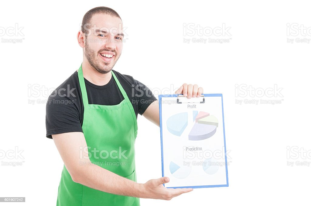 Hypermarket seller being happy showing profit and prediction stock photo