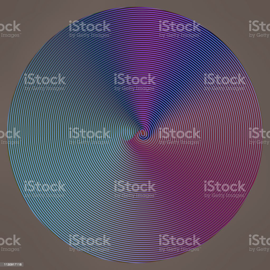Hypnotic circle vortex fractal image in vlue and purple stock photo