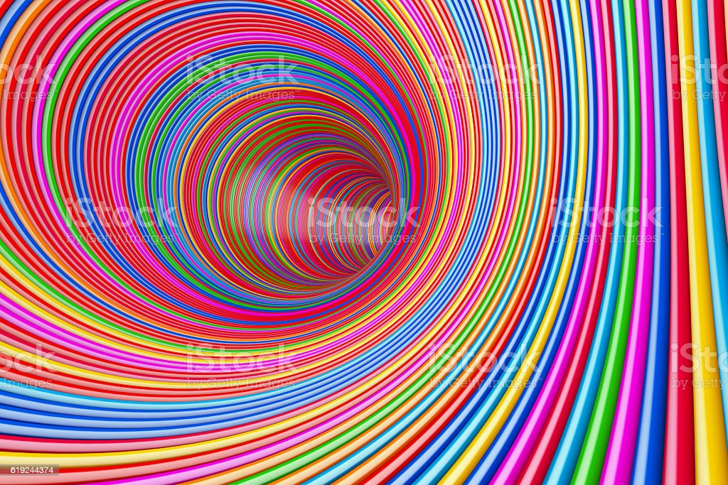 Hypnotic Psychedelic Multicolour Circles Tunnel. 3d Rendering stock photo