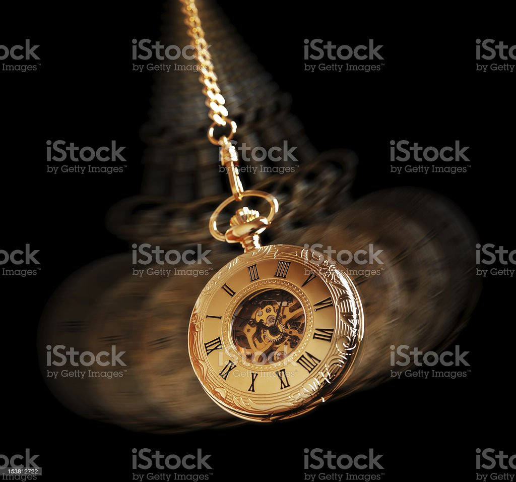 Hypnotizing pocket watch stock photo